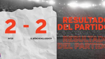 Inter empata ante B. Mönchengladbach pese al doblete de Romelu Lukaku