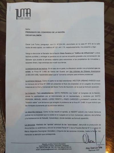Congreso recibe denuncia contra Sixto Pereira y ya empieza a gestarse pedido de pérdida de investidura