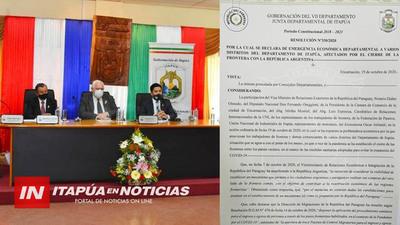 DECLARAN EMERGENCIA ECONÓMICA DEPARTAMENTAL EN ITAPÚA