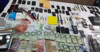 Tras requisa en Tacumbú, incautan grandes cantidades de dinero en efectivo y droga