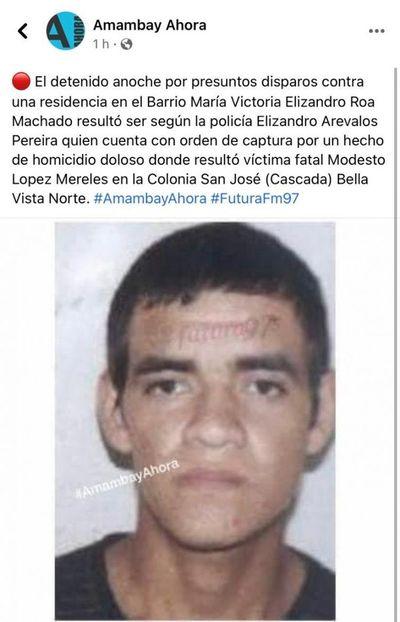 Disparan contra una vivienda en Pedro Juan