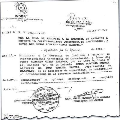 Extitular de Indert cedió valioso lote de  12 Ha. en Caaguazú a familia de político