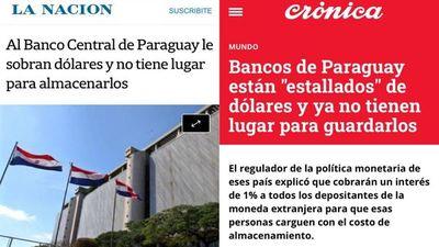 Medios argentinos se hacen eco del exceso de circulante de dólares en Paraguay