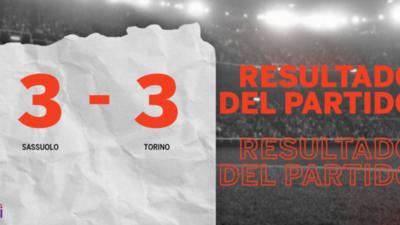 Lluvia de goles en el estadio Mapei Stdm. Cittá del Tricolore, Sassuolo y Torino rescataron 1 punto