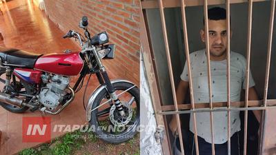 EN ARROYO PORÃ, RECUPERAN MOTOCICLETA DENUNCIADA COMO ROBADA