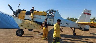 Avión hidrante de la SEN se encuentra en Caazapá para apoyar trabajos de bomberos