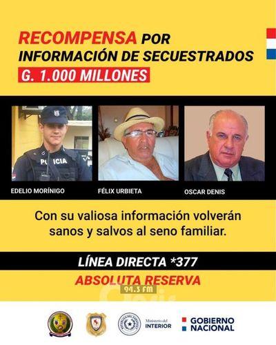 Euclides Acevedo reitera recompensa de G. 1.000 millones por secuestrados