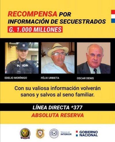 Reiteran recompensa de G. 1.000 millones por información de secuestrados