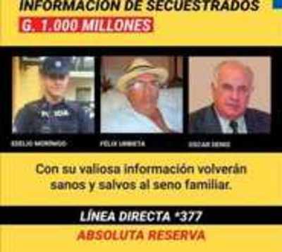 Secuestros: Reiteran recompensa de G. 1000 millones por información
