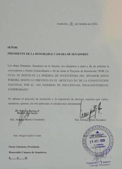 "Piden pérdida de investidura del senador Sixto Pereira por ""uso indebido de influencias"""