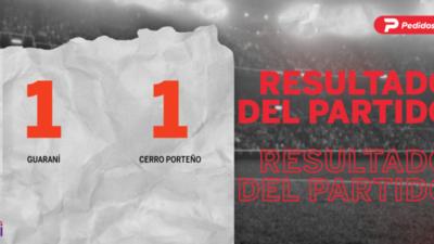 Reparto de puntos en el empate a uno entre Guaraní y Cerro Porteño