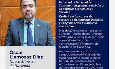 Oscar Llamosas asume como nuevo ministro de Hacienda