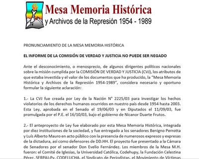 Mesa Memoria Histórica se pronuncia sobre situación de tierras
