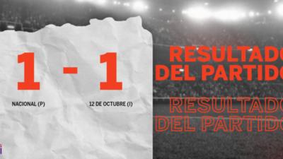 Nacional (P) y 12 de Octubre (I) se reparten los puntos y empatan 1-1