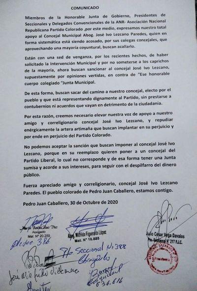 """Colorados de Amambay brindan total respaldo al Concejal Ivo Lezcano; """"no permitirán que le 'suspendan' por cuestionar irregularidades"""""""
