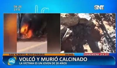 Conductor muere calcinado tras vuelco en San Alberto