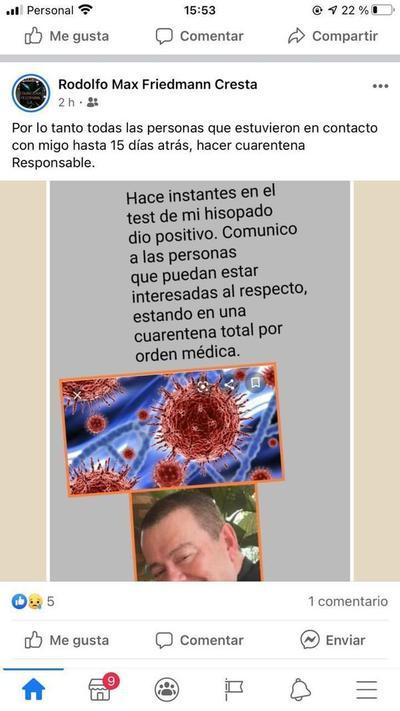 Rodolfo Friedmann dio positivo al coronavirus