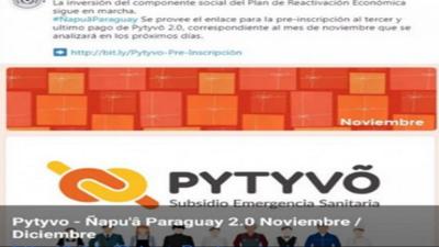 Alertan sobe falsos enlaces para inscripciones a tercer pago de Pytyvo