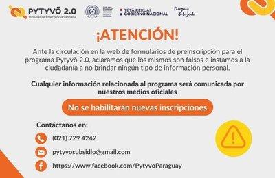 Formulario de preinscripción a Pytyvô 2.0 es falso, según Hacienda