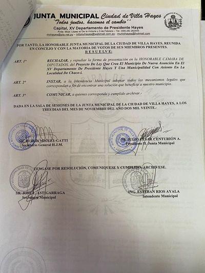 """Comuna de Villa Hayes repudia creación de """"Nueva Asunción"""""""