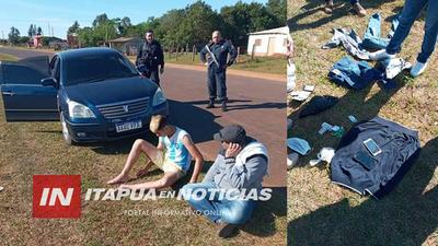 TRAS PERSECUCIÓN POLICÍA ATRAPÓ A SOSPECHOSOS DE ASALTO A CASAS DE APUESTA EN CAAZAPÁ