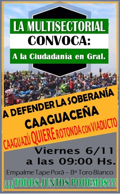 CAAGUACEÑOS QUIEREN ROTONDA CON VIADUCTO