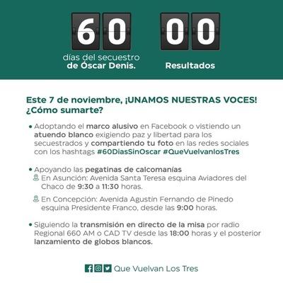 Desarrollan actividades por los 60 días de secuestro de Óscar Denis