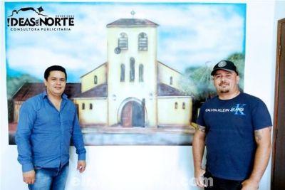 Arte Urbana PJC: mural de la Parroquia del Perpetuo Socorro en la oficina del presidente de la Junta Municipal Ever Salinas