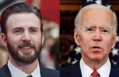Chris Evans comparte una imagen que 'demuestra' que él y Joe Biden son la misma persona