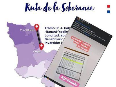 Cámara de Diputados aprueba la construcción del asfaltado Pedro Juan – Capitán Bado –Ype  hú