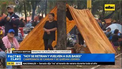 Campesinos ya se retiran de Asunción, según ministro del MAG