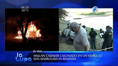 Encuentran cadáver en valijera de vehículo en llamas