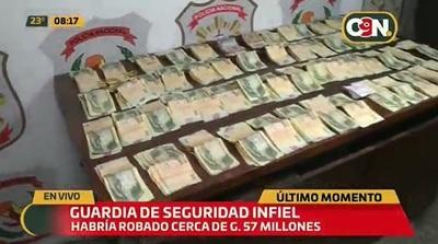 Detienen a guardia que hurtó G. 57 millones