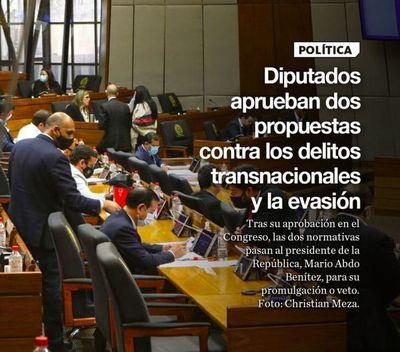 Diputados aprueban dos propuestas contra los delitos transnacionales y la evasión