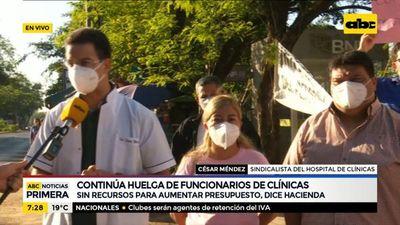 Continúa la huelga de funcionarios de Clínicas