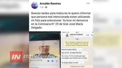 POLICÍA DE ITAPÚA DENUNCIÓ USO DE SU IMÁGEN POR PARTE DE RED EXTORSIVA