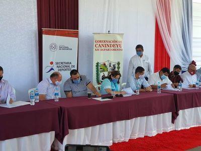 SND firma convenio con localidades de Canindeyú para plazas deportivas