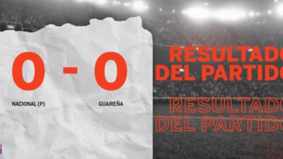 Cero a cero terminó el partido entre Nacional (P) y Guaireña
