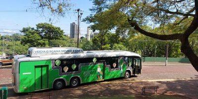 Causo FUROR el ómnibus movido a BIOMETANO de la Itaipú, pero en FOZ