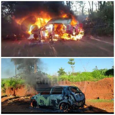Dos automóviles fueron incinerados esta mañana en Pedro Juan Caballero.