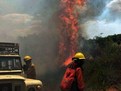 Reserva San Rafael  arde en llamas pese al esfuerzo de los bomberos