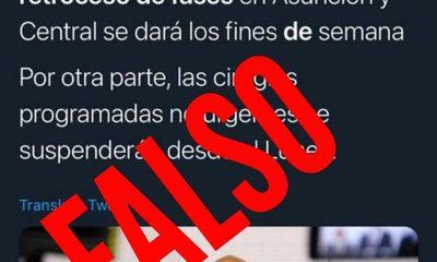 Desmienten publicación sobre retroceso de fases en Asunción y Central