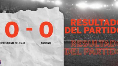 Cero a cero terminó el partido entre Independiente del Valle y Nacional