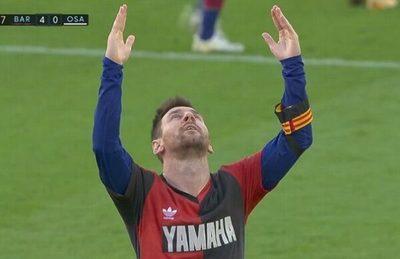 Messi homenajea a Maradona con los colores de su club