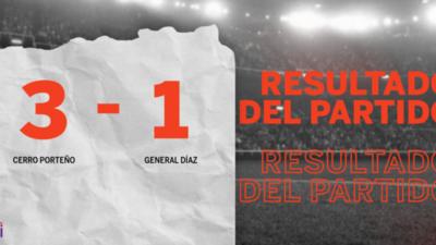 Cerro Porteño paseó a General Díaz y selló su triunfo 3 a 1