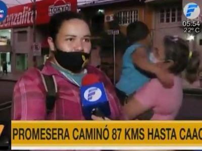 Mujer cumple promesa de caminar 87 kilómetros hasta Caacupé