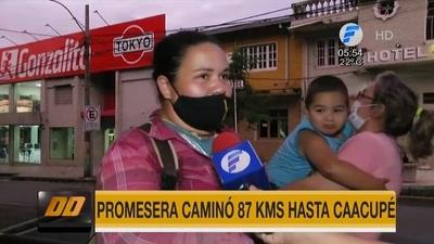 Mujer camina 87 kilómetros por la salud de su hijo desde Coronel Oviedo