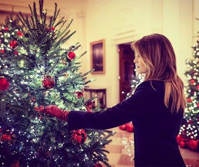 Melania Trump realizó su última decoración navideña en la Casa Blanca