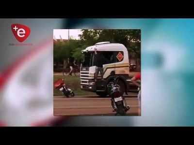 DENUNCIAN A MOTOCICLISTA QUE DESTROZÓ CAMIÓN EN MARIA AUXILIADORA