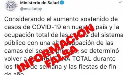 HOY / Ministerio de Salud desmiente 'fake news' sobre supuesta vuelta a cuarentena total